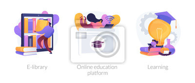 Fototapete Internet bookstore, remote training classes service, academic graduation icons set. E-library, online education platform, learning metaphors. Vector isolated concept metaphor illustrations