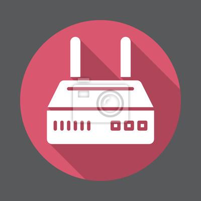 Internet router flache ikone. runde bunte schaltfläche, kreisförmige ...