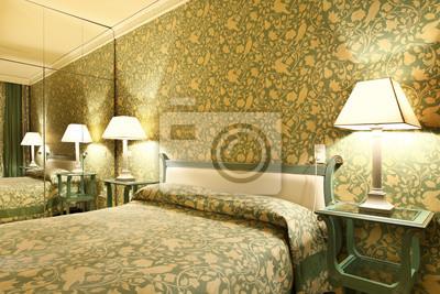 Interno di camera da letto di hotel fototapete • fototapeten erhitzt ...