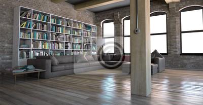 Interno soggiorno con vintage libreria openspace 3d fototapete ...