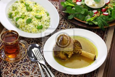 Perfect Fototapete Iranische Persische Küche, Geschmorte Lammkeule, Baghali Polo,  Sabzi Khordan