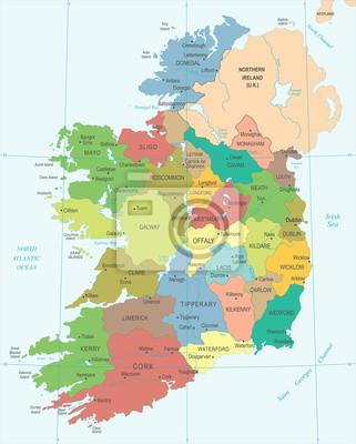 Irland Karte.Irland Karte Ausfuhrliche Vektor Illustration Fototapete
