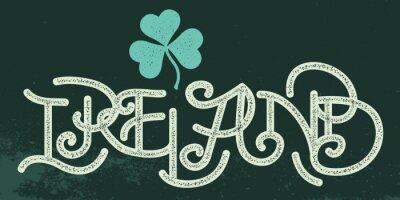 Irland Weinlese-typografie. Beschriftung. Shamrock-Blatt. Klee. Ol