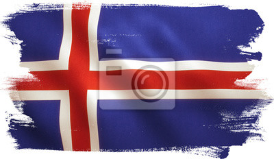 Isländisch Frohe Weihnachten.Fototapete Island Flagge