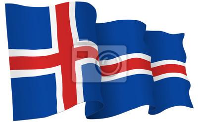 Isländisch Frohe Weihnachten.Fototapete Island Flagge Winken Vektor Illustration
