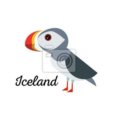 Island Konzept. Papageientaucher Seevogel Zeile Kunst-Symbol. Birdwatching beliebte Vogel-Sammlung. Flacher Entwurf nördlicher Papageientaucher gefärbt in den hellen klaren Farben. Einfache und niedli