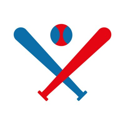 Isolated ball and bats of baseball flat style icon vector design