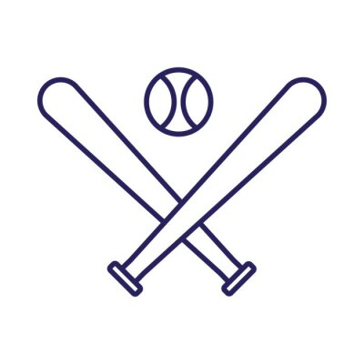 Isolated ball and bats of baseball line style icon vector design
