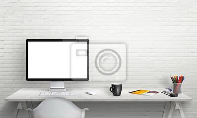 Isoliert Computer Display Fur Mockup Im Buro Interieur Schreibtisch