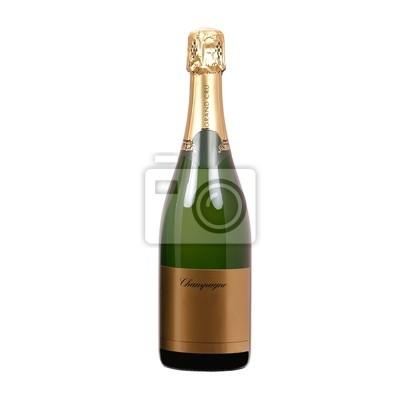 isoliert Flasche Champagner mit leeres Etikett