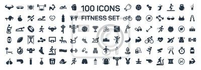 Fototapete Isolierte Ikonen der Eignung und des Sports 100 stellten auf weißen Hintergrund ein