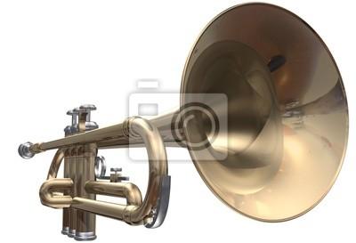 Isolierte Trompete auf einem weißen Hintergrund