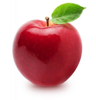 Fototapete Isolierter Apfel. Ganze rote, rosa Apfel Obst mit Blatt isoliert auf weiß, mit Beschneidungspfad