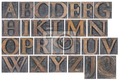 isoliertes Alphabet in Holzart