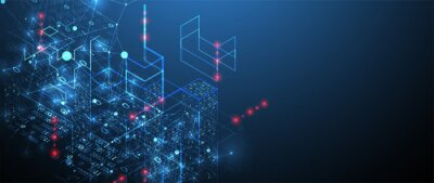 Fototapete Isometric big data concept, database. Abstract technology background. Vector illustration
