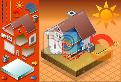 Isometrische Haus Mit Klimaanlage In Kalteerzeugung Fototapete