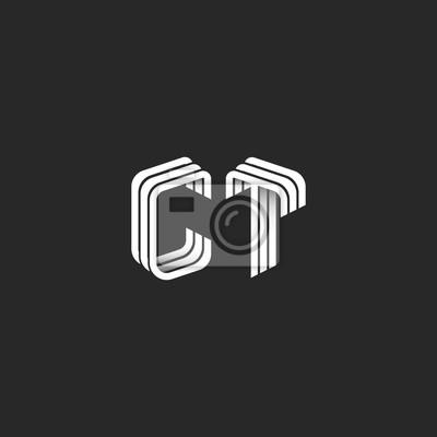Fototapete Isometrische Monogramm Initialen CT Logo Für Visitenkarte,  Design Element Dekoration Kombination