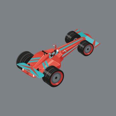 Fototapete Isometrische Sportwagen. Getrennt vektorkarikaturauto für das Laufen. Red Sport-Auto mit einem Rennfahrer drinnen.