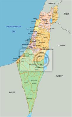 Israel Karte.Israel Sehr Detaillierte Bearbeitbare Politische Karte Mit