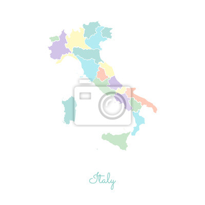 Karte Italien Regionen.Fototapete Italien Region Karte Bunt Mit Weißen Umriss Detaillierte Karte