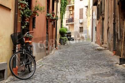 Fototapete Italien, Straße mit Fahrrad und Blumen in Rom