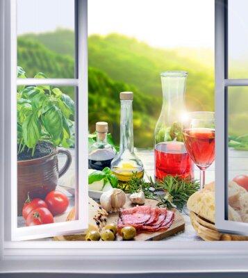 Fototapete Italienische Küche - Vorspeisen am Fenster