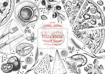 Italienische pizza-ansicht italienische essen menü design vorlage ...