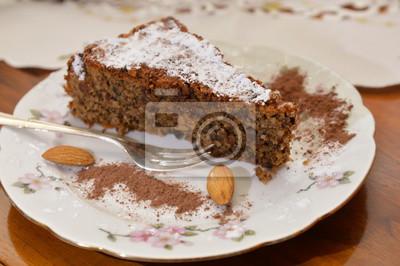 Italienischer Nachtisch Caprese Kuchen Fototapete Fototapeten