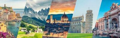 Fototapete Italy famous landmarks collage