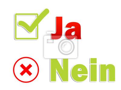 Ja Nein Schriftzug Fototapete Fototapeten Zustimmung Minus