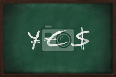 JA - Yen, Euro und Dollar-Zeichen