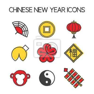 Jahr der affe-ikonen. chinese new year 2016. hand zeichnen stil ...