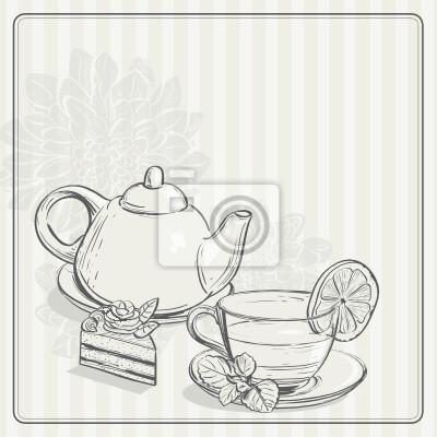 Jahrgang Hintergrund mit Tee und dem Torus