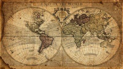 Fototapete Jahrgang Karte der Welt