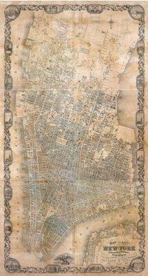 Fototapete Jahrgang Karte von New York
