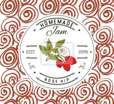 Jam-label-design-vorlage. für hagebutten-dessertprodukt mit ...