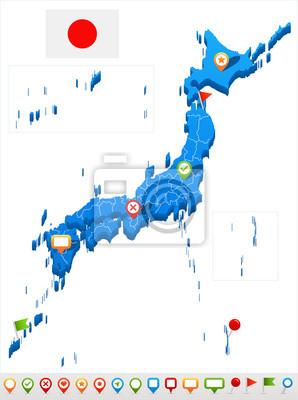 Japan Karte.Fototapete Japan Karte Und Flagge Illustration