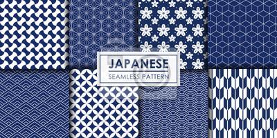 Fototapete Japanese seamless pattern collection, Decorative wallpaper.