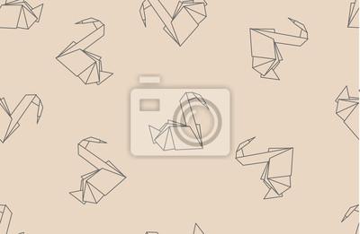 Japanische Origami Kraniche Aus Papier Nahtlose Muster