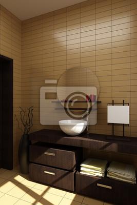 Fototapete: Japanischen stil badezimmer mit braunen fliesen