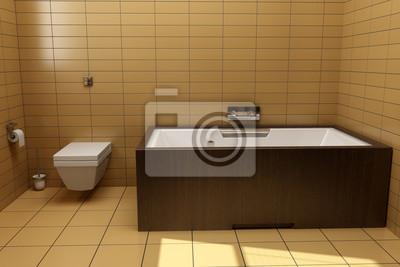 Japanischen stil badezimmer mit braunen fliesen fototapete ...