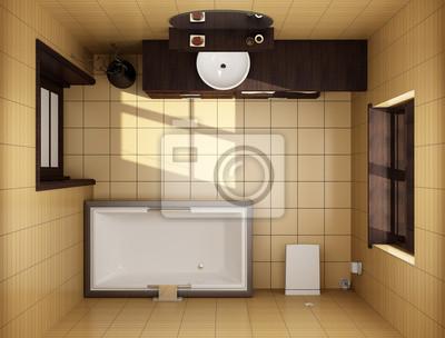 Japanischen stil badezimmer mit braunen fliesen. draufsicht ...