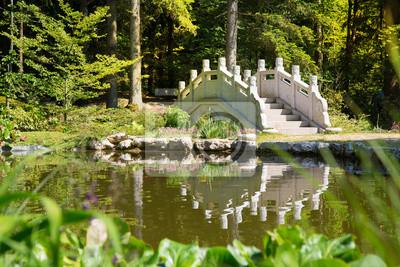Japanischer Garten Mit Teich Und Brücke Fototapete Fototapeten