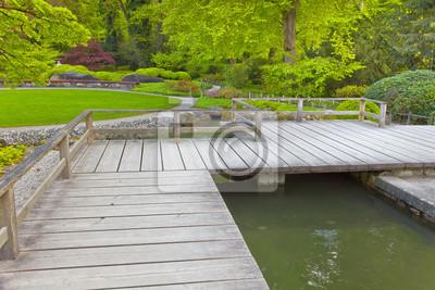 Japanischer Garten Mit Terrasse Und Teich Fototapete Fototapeten