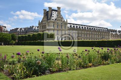 Jardin des tuileries und louvre à paris, frankreich ...