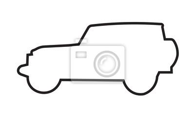 Jeep Wrangler Silhouette Umriss Auf Weißem Hintergrund Fototapete