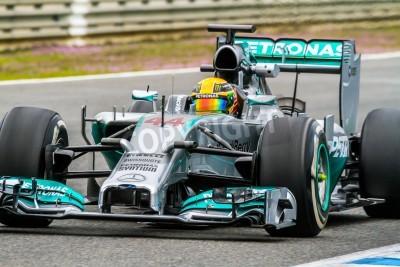 Fototapete Jerez de la Frontera, Spanien - 31. Januar: Lewis Hamilton von Mercedes F1 Rennen auf Trainingseinheit am 31. Januar 2014 in Jerez de la Frontera, Spanien