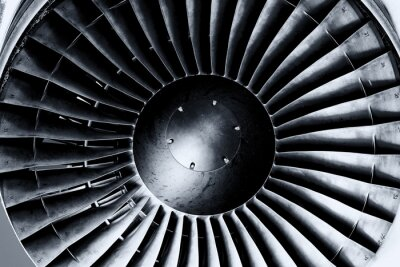Fototapete Jet-Engine hautnah. Schwarz und weiß. Toning.