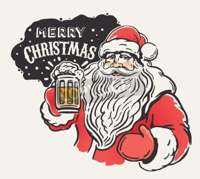 Fototapete Jolly Santa Claus mit einem Bierkrug in der Hand. Fröhliche Weihnachten!