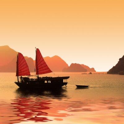 Fototapete Jonque dans la Baie d'Halong - Vietnam